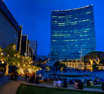 World Trade Center skyscraper and Orion mall at the blue hour in Bangalore, Karnataka, India